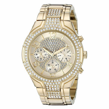 Guess U0628L2 Women's Iconic Signature Champagne Dial Yellow Gold Steel Bracelet Crystal Watch