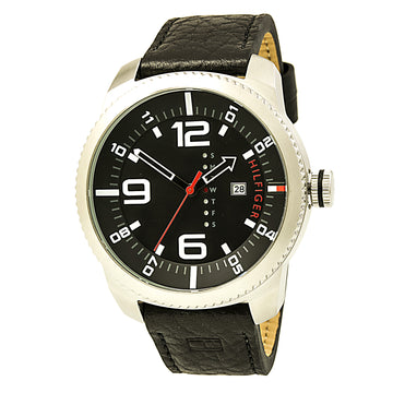 Tommy Hilfiger 1791014 Men's Graham Quartz Black Dial Black Leather Strap Watch