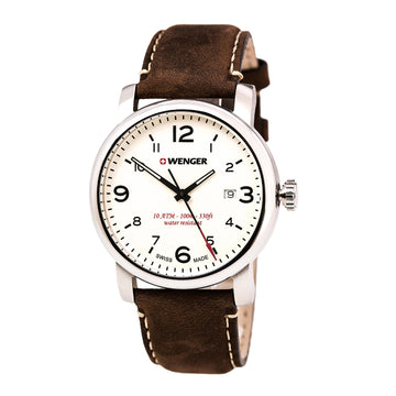 Wenger 01.1041.138 Men's Urban Metropolitan Brown Leather Strap Beige Dial Quartz Date Watch