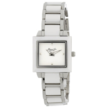 Kenneth Cole KC4743 Women's New York Petite Chic Square White Ceramic & Steel Watch