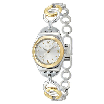 Swatch YSS286G Women's Ring Bling Silver Dial Two Tone Steel Bangle Bracelet Crystal Watch