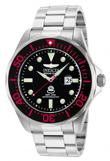 Invicta 14652 Men's Grand Diver Black Dial Steel Bracelet Dive Watch