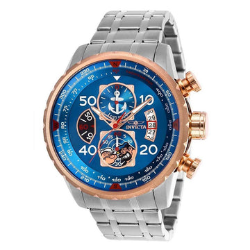 Invicta Men's Chronograph Watch - Character Popeye Blue Dial Steel Bracelet | 25151