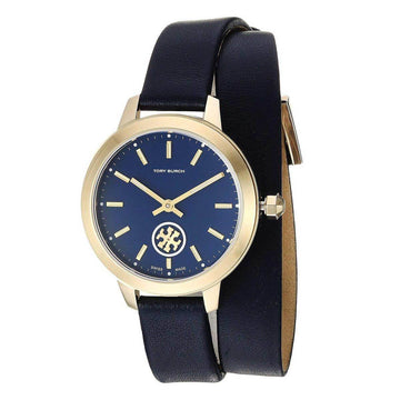073a37ae9 Tory Burch Women's Double Wrap Strap Watch - Collins Blue Dial Navy Blue  Leather