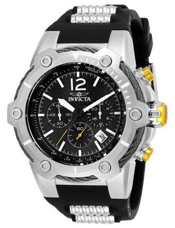 Invicta Men's Chronograph Watch - Bolt Black Dial Steel & Black Rubber Strap | 25472
