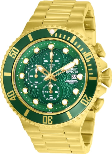 Invicta 25299 Men's Pro Diver Green Dial Yellow Gold Steel Bracelet Chronograph Dive Watch