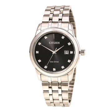 Citizen Men's Diamond Watch - Eco-Drive Steel Bracelet Black Dial | BM7340-55E