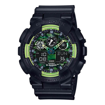 Casio Men's World Time Watch - G-Shock Dive Green & Black Ana-Digi Dial | GA100LY-1A
