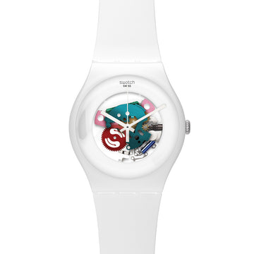 Swatch SUOW100 Unisex White Lacquered Skeleton Dial Silicone Strap Plastic Watch