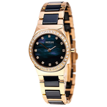 Bering 32426-767 Women's Ceramic Quartz Blue MOP Dial Rose Gold Steel & Ceramic Bracelet Watch