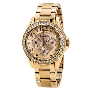Fossil ES2811 Women's Riley Rose Gold Dial Rose Gold Steel Stone Accented Watch