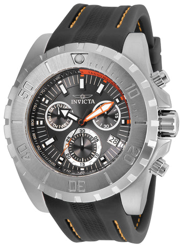 Invicta Men's Chronograph Watch - Pro Diver Charcoal Dial Grey Rubber Strap | 24924