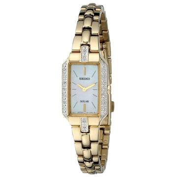 Seiko SUP236 Women's Core Solar Classic MOP Dial Yellow Gold Steel Diamond Watch