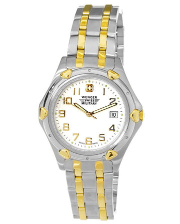Wenger 79167 Men's Swiss Military White Dial Two Tone Stainless Steel Watch