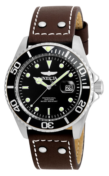 Invicta Men's Brown Leather Strap Watch - Pro Diver Black Dial Dive | 22069