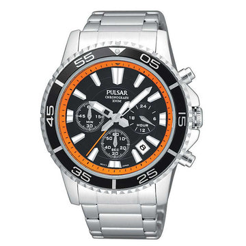 Pulsar PT3035 Men's Oversized Quartz Stainless Steel Bracelet Chronograph Black Dial Watch