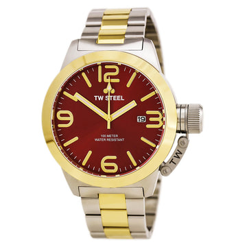 TW Steel CB72 Men's Canteen Bracelet Quartz Two Tone Yellow Gold Steel Red Sunray Dial Watch