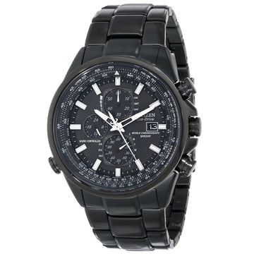 Citizen AT8025-51E Men's Eco-Drive Black Dial Black IP Steel World Chronograph A-T Alarm Dive Watch