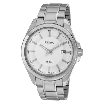 Seiko SUR067 Men's Dress Stainless Steel Bracelet Quartz Silver Dial Date Watch