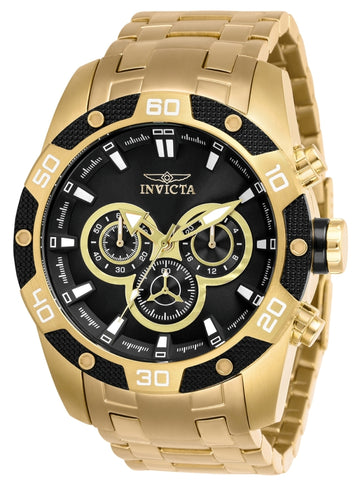 Invicta Men's Chronograph Watch - Speedway Black Dial Yellow Steel Bracelet | 25840