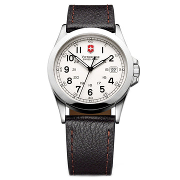 Swiss Army 24654 Men's Infantry White Dial Black Leather Strap Watch