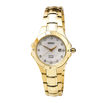 Seiko SUT168 Women's Coutura Solar Yellow Gold Steel Bracelet MOP Dial Diamond Watch