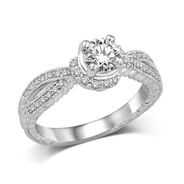 14K White Gold 2/5 Ct.Tw. Diamond Semi Mount Bridal Ring