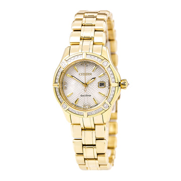 Citizen Women's Diamond Watch - Signature Arezzo Eco Drive MOP Dial Yellow Gold