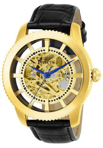 Invicta 23638 Men's Vintage Automatic Gold Tone Skeleton Dial Black Leather Strap Watch