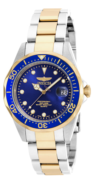 Invicta 17050 Men's Two Tone Yellow Bracelet Quartz Pro Diver Blue Dial Date Watch