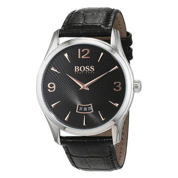 Hugo Boss Men's Strap Watch - Commander Quartz Black Leather Black Dial | 1513425