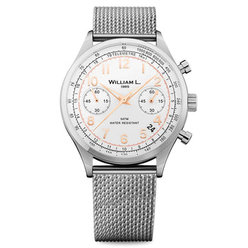 William L. 1985 WLAC01BCORMM Men's Chronographs White Dial Steel Mesh Bracelet Watch