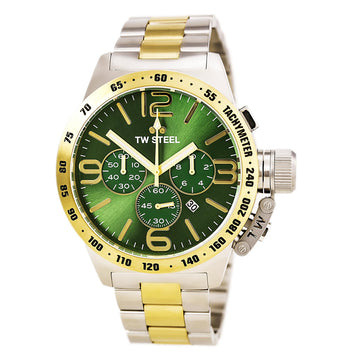 TW Steel CB64 Men's Canteen Bracelet Chronograph Green Sunray Dial Two Tone Steel Quartz Date Watch