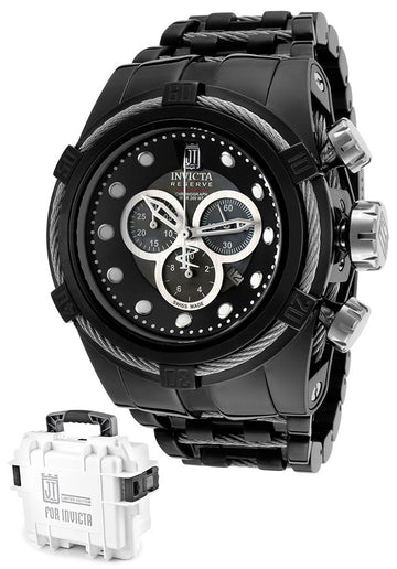 Invicta 14425 Mens Reserve Black Dial Black IP Steel Bracelet Chrono Dive Watch
