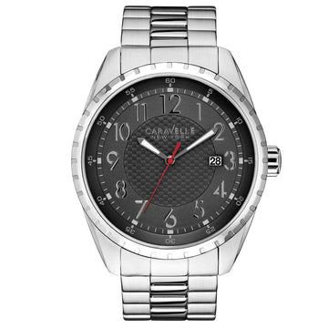 Caravelle 43B134 Mens New York Grey Dial Stainless Steel Bracelet Date Watch