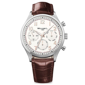 William L. 1985 WLAC03BCORCM Men's Calendar Vintage Style Brown Leather Strap Cream Dial Watch