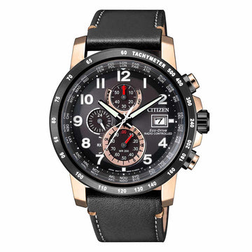 Citizen Men's Chronograph Watch - Radio-Controlled Eco-Drive Black Leather Strap | AT8126-02E