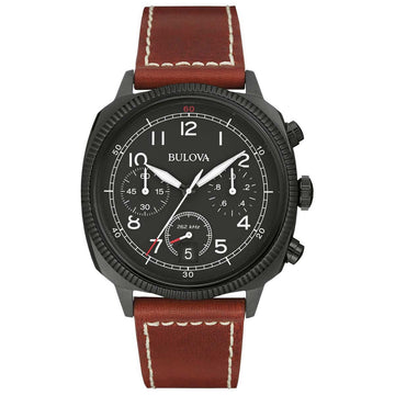 Bulova 98B245 Men's Military UHF Black Dial Brown Leather Strap Chronograph Watch
