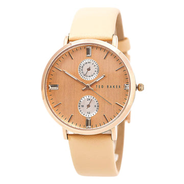 Ted Baker 10024716 Women's Dress Sport Tan Leather Strap Quartz Rose Gold Dial Date Watch