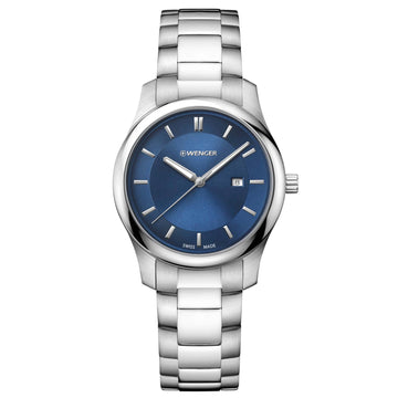 Wenger 01.1421.106 Women's City Classic Steel Bracelet Swiss Quartz Blue Sunray Dial Date Watch