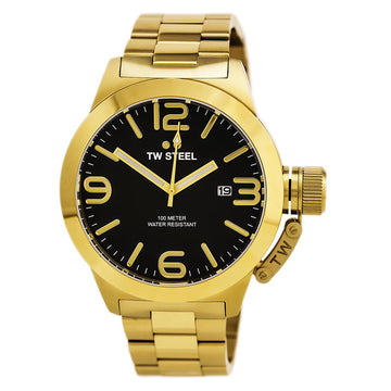 TW Steel CB92 Men's Canteen Bracelet Black Dial Yellow Gold Stainless Steel Quartz Date Watch