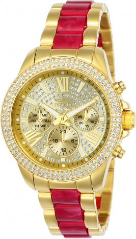 Invicta 24126 Women's Angel Gold Dial Red Resin & Yellow Steel Bracelet Chrono Crystal Watch