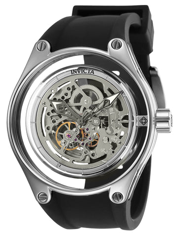 Invicta Men's Automatic Watch - Anatomic Silver Skeleton Dial Silicone Strap | 25113