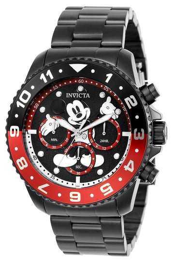 Invicta 24956 Men's Disney Black Dial Gunmetal Steel Bracelet Chronograph Dive Watch