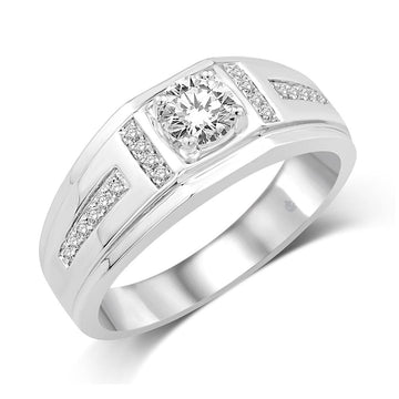 14K White Gold 5/8 Ct.Tw. Diamond Mens Band