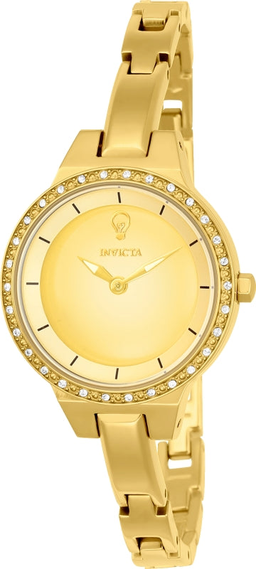 Invicta 23330 Women's Yellow Steel Bangle Bracelet Gabrielle Union Crystal Gold Dial Watch Set