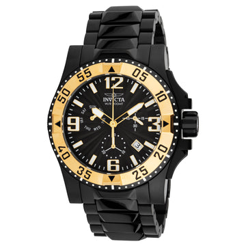 Invicta 23906 Men's Excursion Black Dial Black IP Steel Bracelet Chronograph Dive Watch