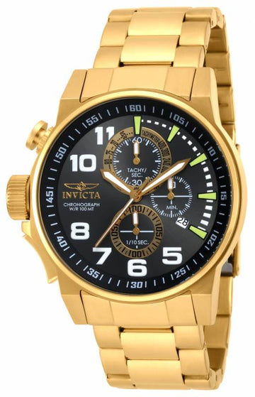 Invicta 17416 Men's Force Lefty Black Dial Gold Steel Bracelet Chronograph Watch
