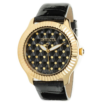 Invicta 22563 Women's Black Leather Strap Quartz Angel Glossy Black Dial Watch