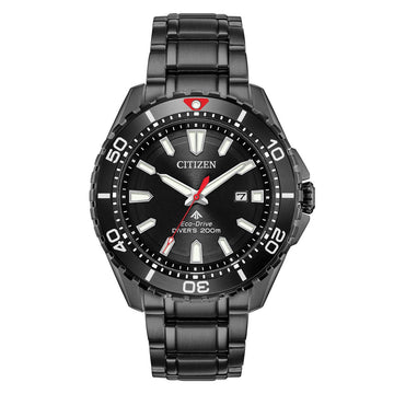 Citizen Men's Bracelet Watch - Promaster Diver Black Dial Black IP Steel | BN0195-54E